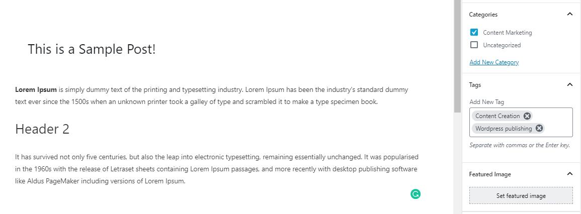 WordPress Publishing of Blog Posts